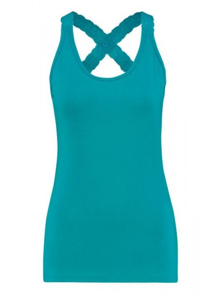 Studio Anneloes Crossback Lace Top Turquoise
