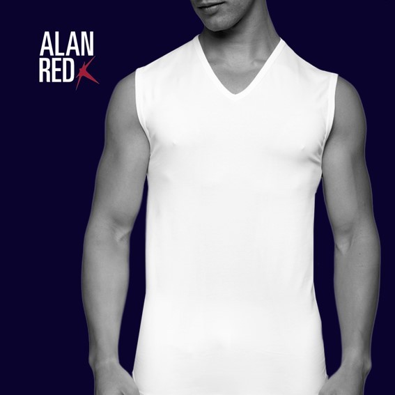 Alan Red Mouwloos 2 pack Tshirts Wit