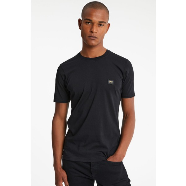 Denham Applique Slim Fit Tshirt Zwart