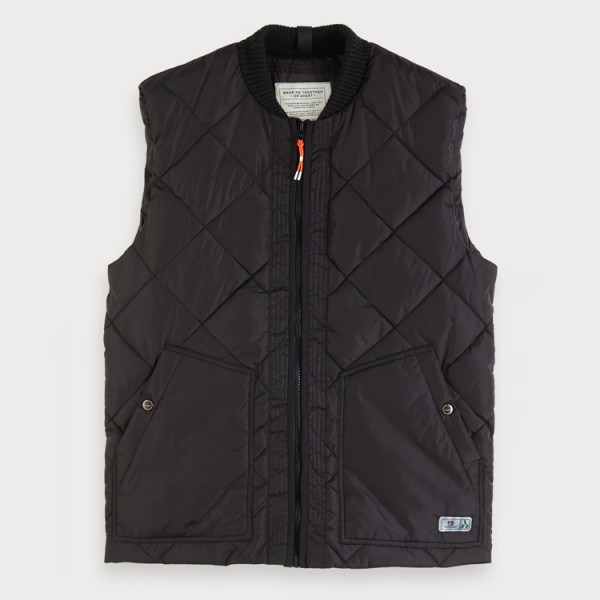 Doorgestikte zwarte bodywarmer Scotch & Soda 152108