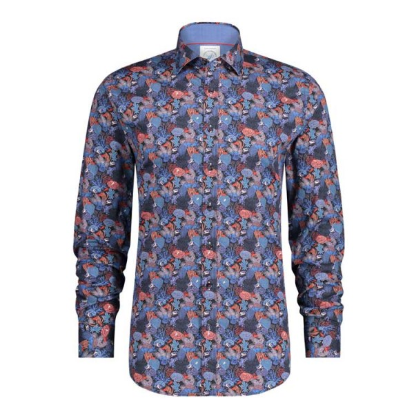 Fish Named Fred Casual Print Overhemd 23.01.007 Blauw Rood