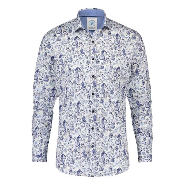 Fish Named Fred Overhemd Dessin Shirt 23.01.017 Wit Blauw