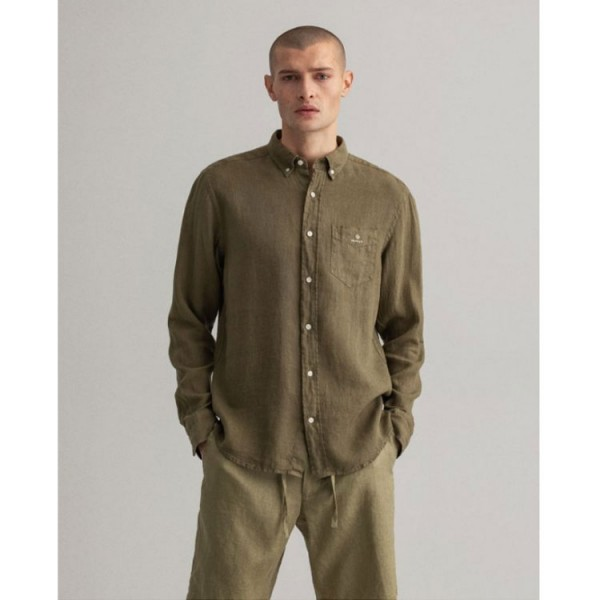 Gant Linnen Button Down Overhemd 3009460 Groen