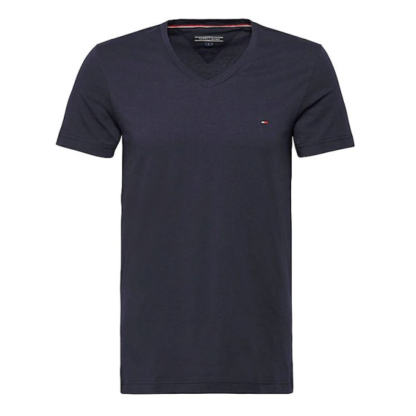 Hilfiger V-neck Tee Slim Fit Blauw