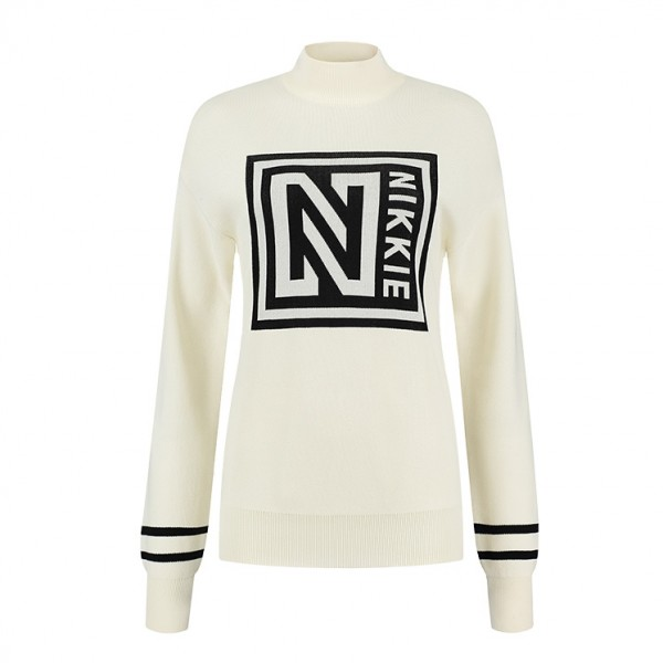 Nikkie Logo Patch Turtle Sweater N7-361 Off-White