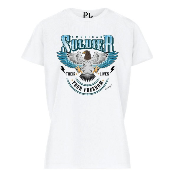Pinned American Soldier T-Shirt Wit