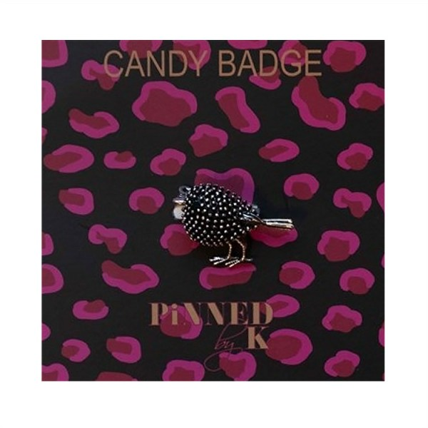 Pinned by K Candy Badge Bird Silver