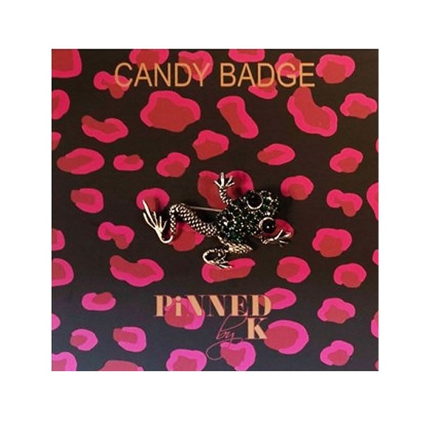 Pinned by K Candy Badge Frog Green
