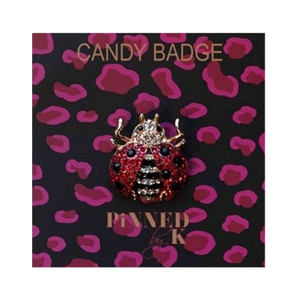 Pinned by K Candy Badge Lady Bug Red