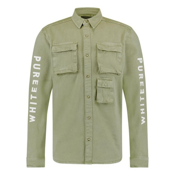 Pure White Utility Overshirt Army Green