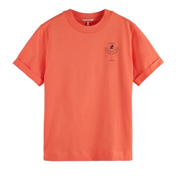 Scotch Dames Grafisch Tshirt Relaxed Fit 161709 Oranje
