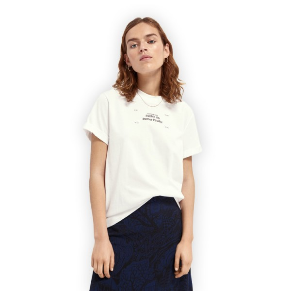 Scotch Dames Grafisch Tshirt Relaxed Fit 161709 Wit