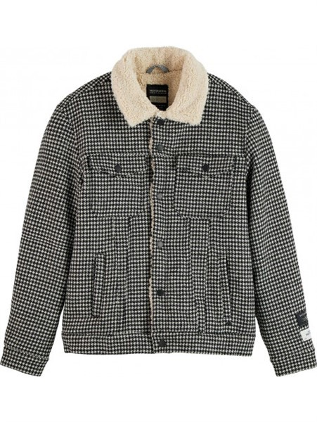 Scotch Soda Teddy Winterjack Pied de Poule Zwart Wit