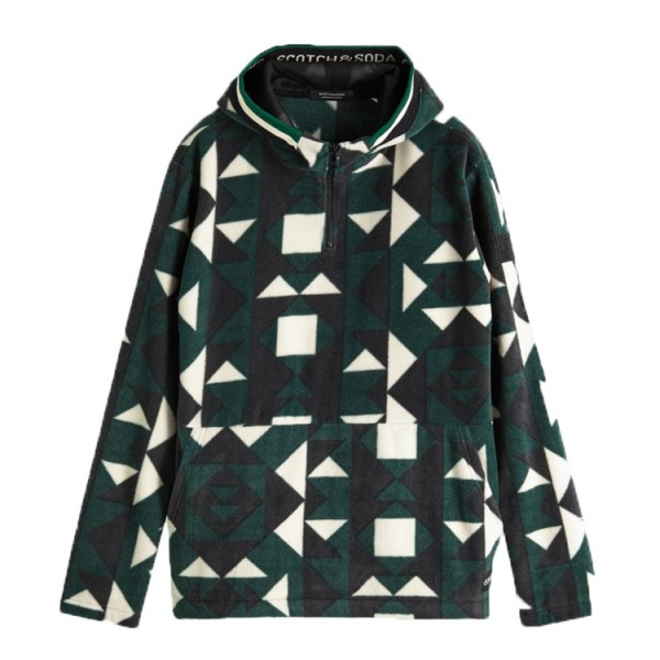 Scotch Soda Fleece Hooded Trui Groen