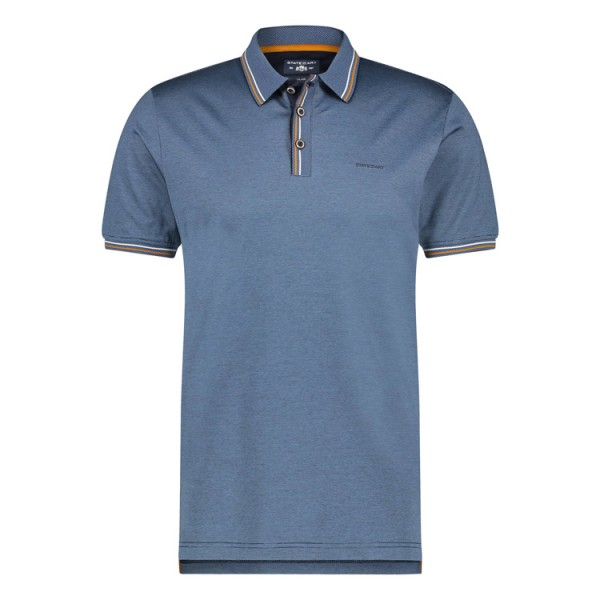 State of Art Jersey Glans Strepen Polo 11561 Staalblauw