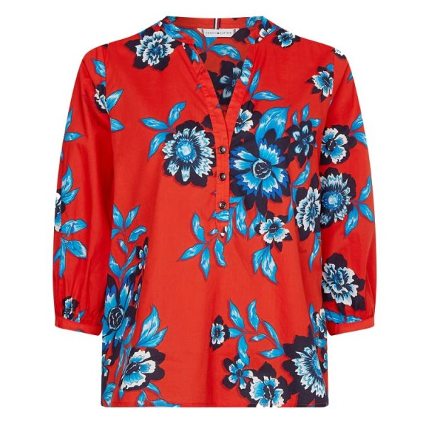 Tommy Dames Floral Driekwart Mouw Blouse 30280.OKV Rood