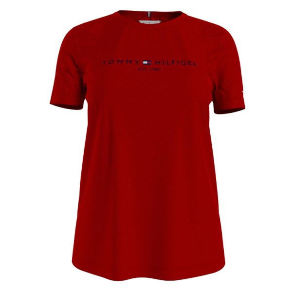 Tommy Dames Logo Tshirt 28681 Ronde Bloed Rood