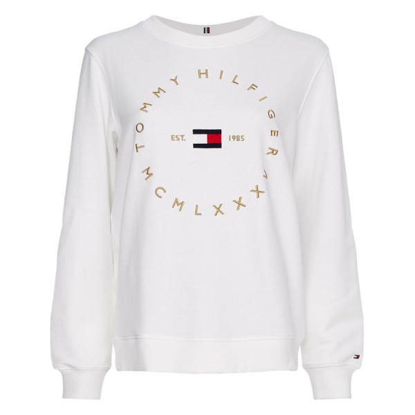 Tommy Dames Ronde Hals Logo Sweater 29435 Wit