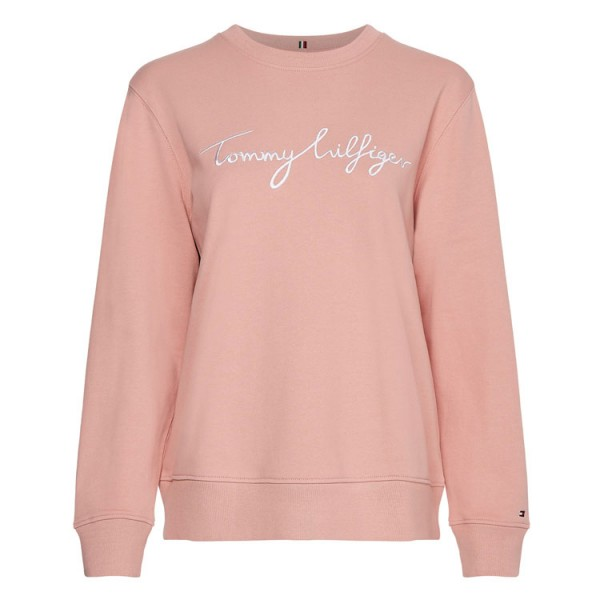 Tommy Dames Ronde Hals Sweater 30659 Graphic Logo Roze
