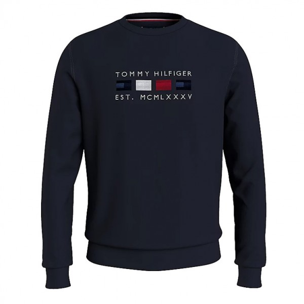 Tommy Heren Four Flags Logo Sweater 20133 Blauw