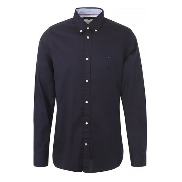 Tommy Heren Slim Fit Chalky Overhemd 20529 Donkerblauw