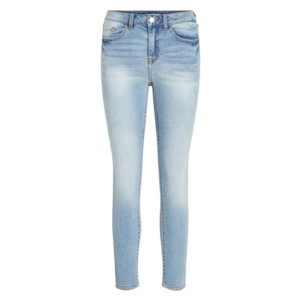 Vila Cropped Straight Jeans Blauw