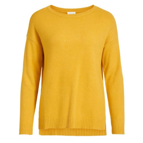 Vila High Low Knitted Pullover Geel