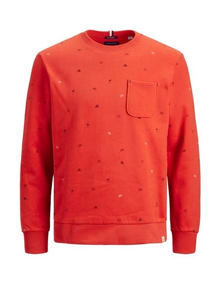 Jack & Jones Trips Sweat 12178126 Oranje Rood